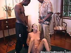 What are you waiting for? Watch this impressive brunette with natural breasts getting DP by two big black cocks in this amazing threesome.