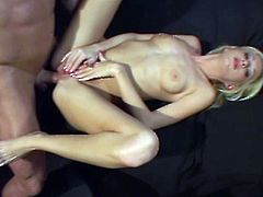 Slim and cute blonde girl pleases a guy with her sexy feet. Then she also gets fucked hard in her wet vagina. Of course Hillary also sucks a dick.