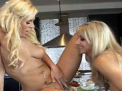 Adorable babes are having a great time masturbating together in the kitchen