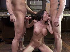 Make sure you get a load of this hardcore scene where the busty brunette Veronica Avluv is fucked by two big cocks in a threesome.
