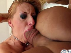 SO much jizz! This hardcore gangbang face fuck makes her gag so bad, then they all blow loads and cover that face in high quality spunk!