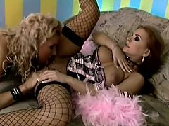 Two hotties in lingerie kiss, touch and tease their bodies as they strip each other nude then chow down on that sweet, shaved pussy.