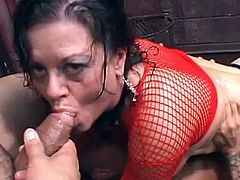 Brunette mature receives two angry cocks to pound her nasty holes