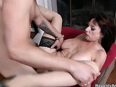 Tim Cannon plays with nasty Karen Kougars vagina before he fills her hole with his erect tool