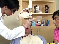 Entertain yourself by watching this FFM where two brunette babes, wearing uniforms and glasses, get fucked by a lusty fellow. They are crazy nurses!