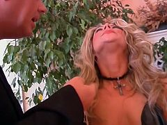 Hot blonde turned into a slave has to satisfy pussy and cock!