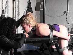 Bizarre lesbo playthings domination of suffering Amber West inside shagging device punishments by leather dominatrice Rouge