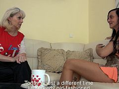 At first, they talk about each others sitting on the white leather couch. Then nanny shows her old boobs and pleases this babe to do the same in steamy Old Nanny xxx video!