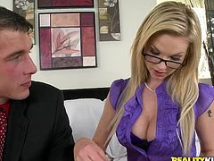 Captivating blonde Tarra White is getting naughty with some guy indoors. They have ardent oral sex and then bang in missionary and other positions.