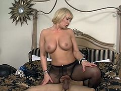 Mellanie Monroe is the Sensuous blonde slut close by large tits.  She has the special way of tipping A room service attendant when he arrives nearly her drinks.  She rips her stockings open and lets him slide his bat inside her pussy.