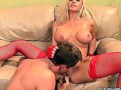 Tanya James with big tits feels the best feeling ever with guys sticky cock cream all over her face