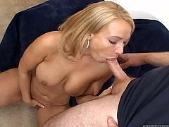 Mellanie Monroe is a hot blonde with big natural tits and an amazing ass. Watch this babe being drilled by this guy as you get a serious boner checking out her body.
