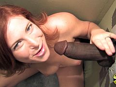 Redhead babe with perfect boobs plays with her smooth pussy. Later on she gives hot blowjob to Black guy. After some time Ginger also takes that cock in her vagina.