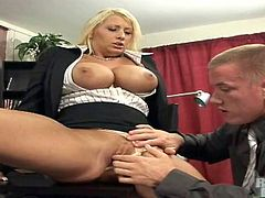 Curvy blonde mom Candy Manson is playing dirty games with some guy in an office. She lets the man rub her snatch and then they bang in the reverse cowgirl and other positions.