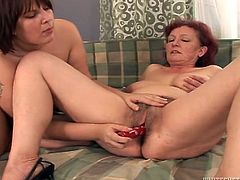 Take a look at this hot scene where these horny BBW mature ladies have an orgy as they masturbate one another with toys.
