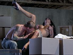 Magnificent Alektra Blue shows off her fake tits and gets her hot pussy licked. After that she gets fucked gently in various poses in some warehouse.