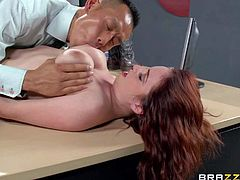 Redhead Ashley Graham is no good as a secretary at all. But she has nice big titties to convince Keni Styles to hire her. She plays with her lovely boobs and then gives her tight neatly shaved pussy a try.