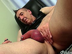 Naughty mature straight guy Marc jerking off his hard pecker