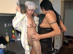 She comes to the kitchen and starts to seduce her nanny. Then she does her cunnilingus. And then she gets her pussy banged with a strapon. Watch this lesbians fuck in Old Nanny xxx video!