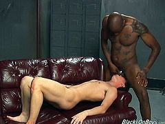 Get a boner watching a white steamy guy getting his butt drilled hard by a black fellow after he sucks his dick for a very long time!