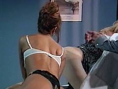 Watch this perverted doctor penetrating some of his plastic toys into his nurse's asshole in The Classic Porn sex clips.