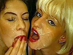 German slutty milfs in the bukkake action