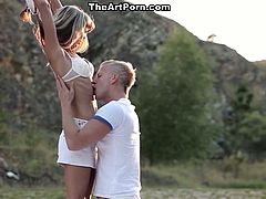 Long haired small tits bitch rests leg spread on fresh air and enjoys divine eating of her hot kitty, then twists doggy way and receives powerful drilling of her black eye. Watch this awesome loping in The Art Porn sex video!