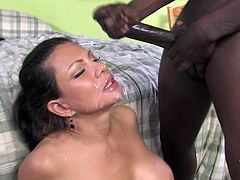 Lustful Teri Weigel has an interracial sex with two guys. She sucks their big black cock and get rammed in her hot pussy. In the finale she gets her pretty face cum covered.