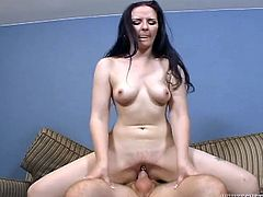 Watch Caroline Pierce chunky ass end up covered by cum after this horny brunette's eaten out and fucked by a horny guy.