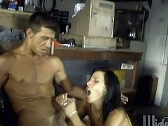 When she came in to get her car fixed this sexy brunette ended up bent over the work bench so she could get fucked hard by her mechanic.