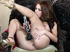 Sabrina Maree with giant jugs and hairless bush screams as she dildo fucks her twat
