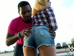 Terrific ebony chick Megan Maze captivates with her king sized booty. Black stud Jon Q eats Megan's wet shaved poon and gets his big black cock sucked. Megan bounces her big black butt getting her shaved creamy snatch fucked doggystyle.