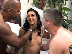 Click to watch this brunette wife, with natural boobs wearing a white thong, while she goes hardcore with a guy in front of her husband.