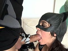 Stunning latino babe Ana Marco is dressed as the Catwoman in this hardcore parody. Watch her sucking off the superhero and then taking his meaty cock from behind.