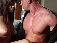 Holly Michael's is a stunning brunette chick with amazing body. She showed amazing deep throat skills on his  huge schlong and took it up her tight wet pussy!