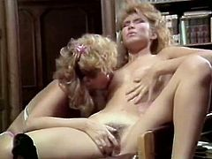 Pussy eating session with two blonde hairy lesbians