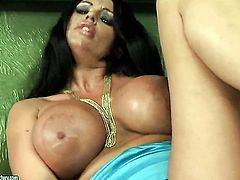 Kerry Louise with gigantic hooters has some time to play with herself on cam