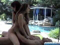 Wild FFM threesome outdoors with curvy babes Rachel Roxxx and Penny Flame