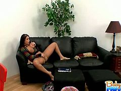 Big titted and playful latina shows her horny cunt and starts rubbing it on the couch! She enjoys the masturbation for a nice orgasm!