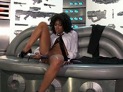 Misty Stone Solo model finds the secret vault of alien sex toys and goes to town! She inserts all sorts of buzzers and dildos up her tight shaved pussy!