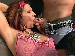 Fucktastic MILF with bubble booty and massive titties in pink negligee gives blowjobs to three cocky studs. All of them eat her wet mature pussy and even lick her sweaty armpits.