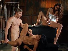 A horny fuckin' dude bangs a couple of fuckin' bitches in this kick-ass hardcore sex scene right here, check it out, bitch!