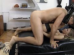 Long haired rapacious blondie posed doggy way and her kinky stud passionately attacked her sweet button hole with his dirty long tongue by giving it hardcore rimming. Take a look at this whorish lassie in Fame Digital sex video!