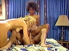 Watch thise two horny and sexy sluts riding a large cock of this perverted jerk in his bedroom in The Classic Porn.