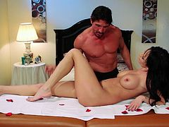 Have fun with this great hardcore scene where the sexy brunette Alektra Blue is fucked silly by a guy with a big cock.
