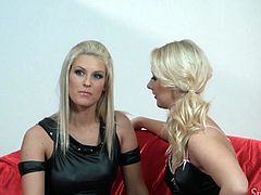 A couple of fuckin' blondes go lesbian on each other in this sweet-ass veggie porn scene right here, hit play and check it out!