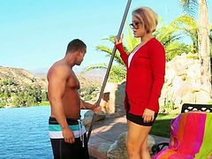 Sultry blonde MILF seduces handsome guy with sexy strong body. She takes off her clothes and sucks his dick deepthroat. Incredibly exciting porn video presented by Wicked studio.
