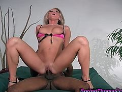 Playful White chick in pink lingerie and high heels gets what she wants. This hottie takes big black cock in her pussy and ass.