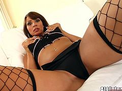 Captivating brunette Janice wearing fishnet stockings shows her hot ass to some man and lets him fuck her twat in side-by-side position. She gets her pink slit filled with cum and enjoys it much.