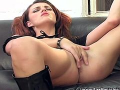 Be part of this solo model video where a brunette, with natural tits wearing a miniskirt, while she touches herself over a black leather couch.